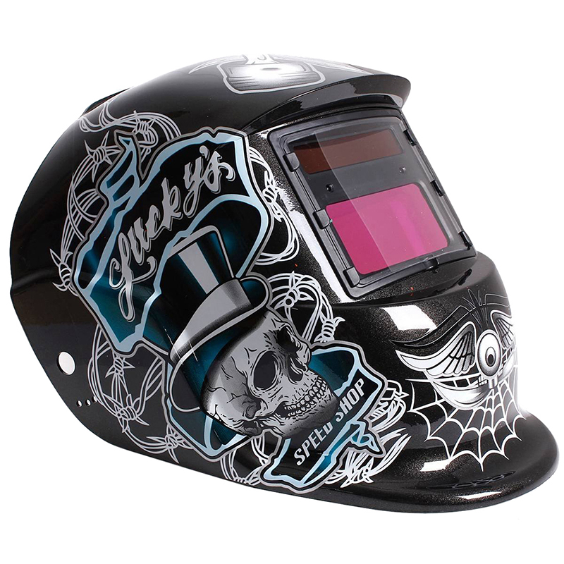 Welding Mask Helmet Solar Automatic Welding (Use Solar Energy For Refill) Black Skull And Spider Web Protective Accessory
