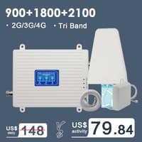 2G 3G 4G tri-band wzmacniacz sygnału komórkowego wzmacniacz GSM 900 4G LTE 1800 B3 3G WCDMA 2100 B1 wzmacniacz sygnału telefonii komórkowej Repeater