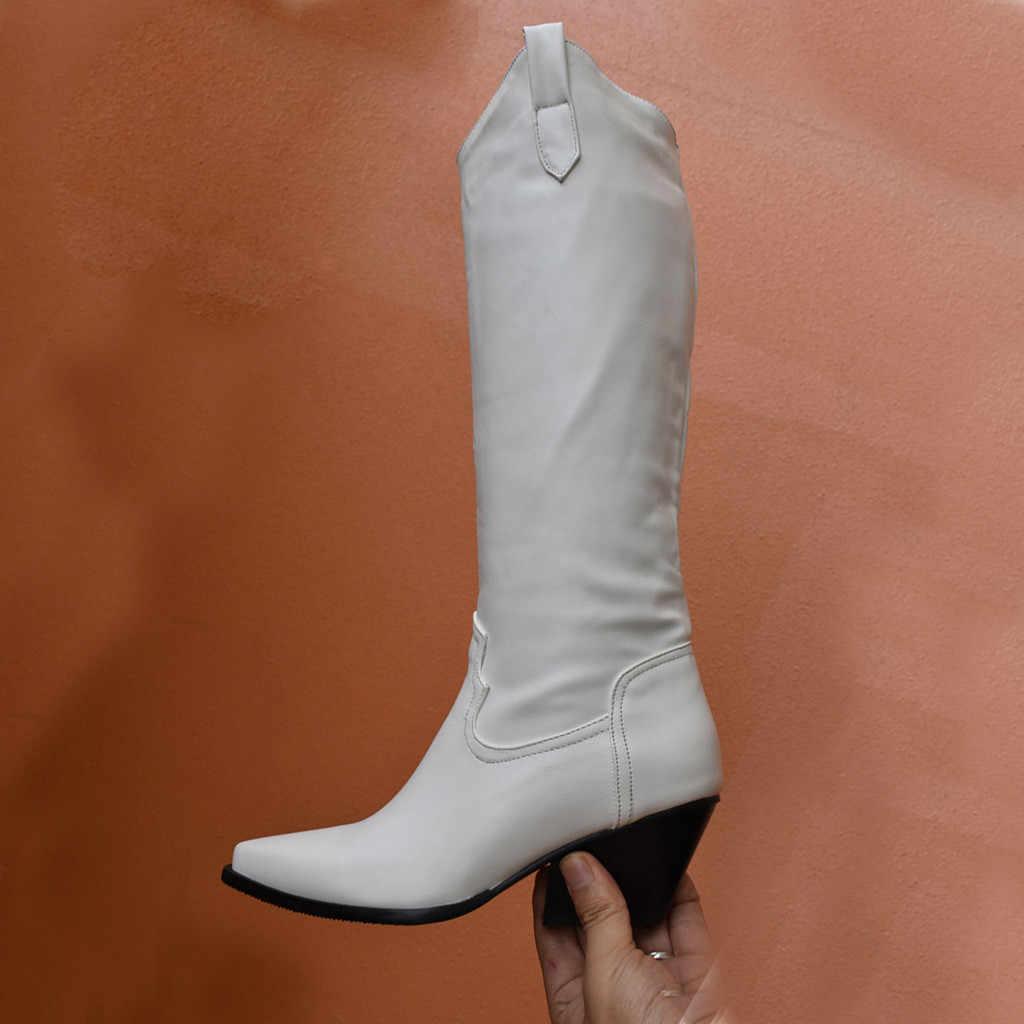 2019 botas de cavaleiro das mulheres meados de tubo de couro bota inverno pele quente meados de bezerro sapatos senhora elegante estilo roma equitação botas apontou toe