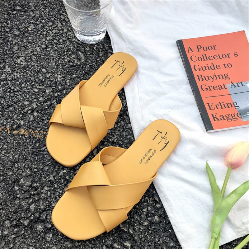 Women Slipper Round Toe Green Yellow Colors  Summer Beach Slides Flip Flops Outdoor casual sewing Shoes Woman Solid Slides