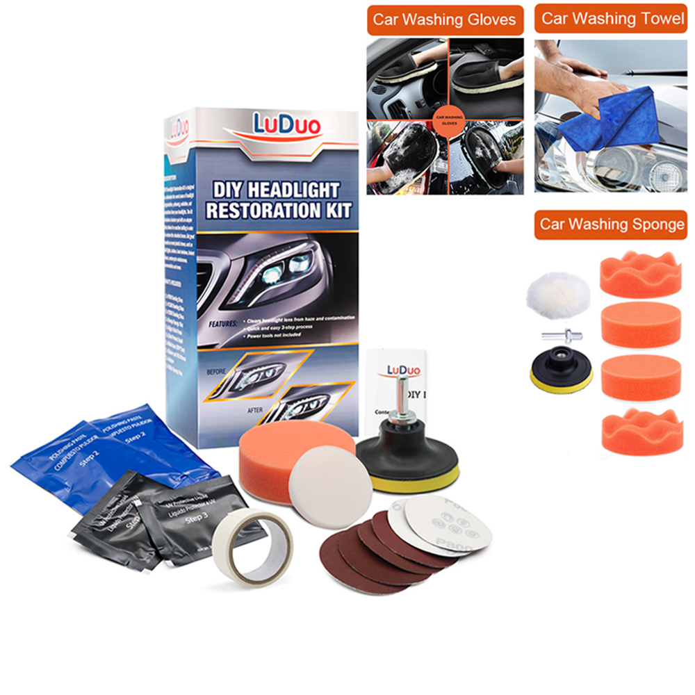 Headlight Restoration Kit Polish For Headlights Cleaning Polisher Car Polish Vehicle Glass Refurbishmen Coat Scratch Repair