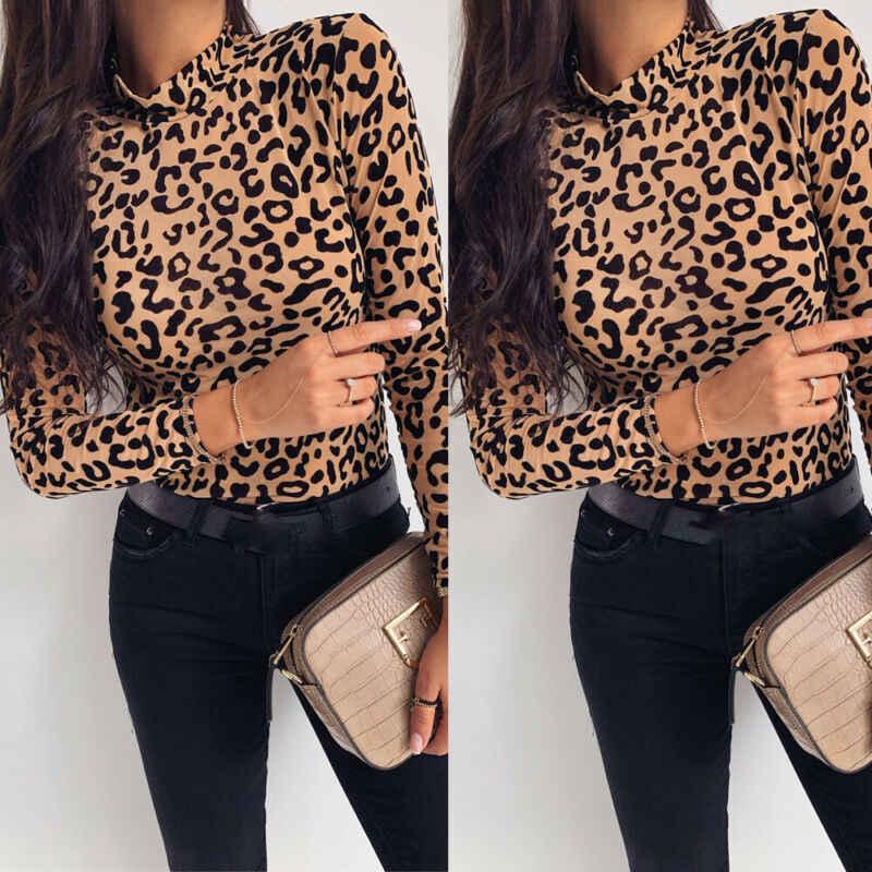 Mulheres leopardo impressão gola alta 2019 outono manga longa magro básico senhoras t camisa festa moda coreano topos feminino novo
