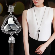 Fashion Crystal Tassel Long Necklace For Women With Big Statement Triangle Pendants