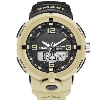 Nowy 2020 SMAEL zegarki mężczyźni podwójny czas zegarki kwarcowe mężczyźni moda sport zegarki wielofunkcyjne zegarki energii słonecznej zegar tanie i dobre opinie 21cm QUARTZ Podwójny Wyświetlacz 3Bar Klamra Z tworzywa sztucznego 18mm Akrylowe Kwarcowe Zegarki Na Rękę Nie pakiet