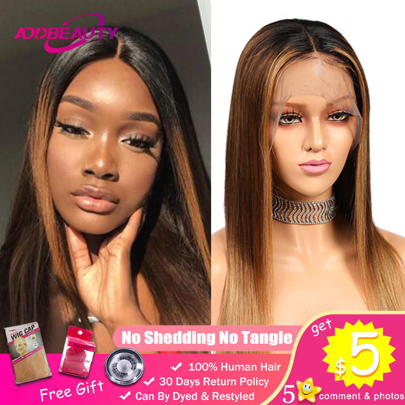 Addbeauty Lace Front Human Hair Wigs For Black Woman Brazilian Remy 13x4 13x6 370 Fake Scalp Pre-Plucked Ombre 1B 4 27 Straight