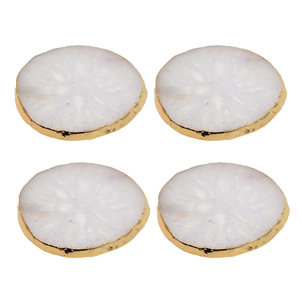 Gold Edge Agate Slice Crystal Coaster Cup Mat Coffee Tea Place mat White