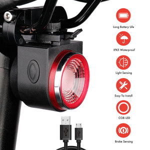 A8 Remote Control Anti Thief Smart Bicycle Light IPX5 Waterproof USB Rechargeable Cycling Security Bike LED Tail Lamp with Alarm
