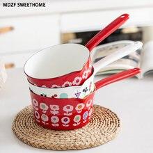 Mdzf 1.5l flores esmalte pote de leite fogão a gás indução cooke café da manhã mingau sopa panela de café cozinha panelas