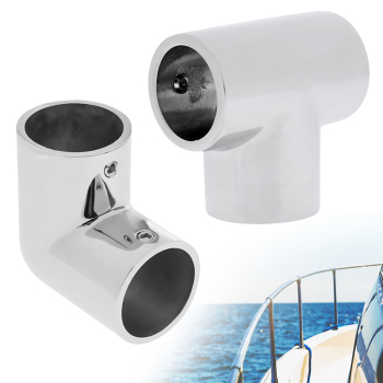 Boat Hand Rail Fitting 2 Pcs 90 Degree Elbow & 2 Pcs Tee 316 Marine Stainless Steel 1 Inch Round Hole Inner Diameter