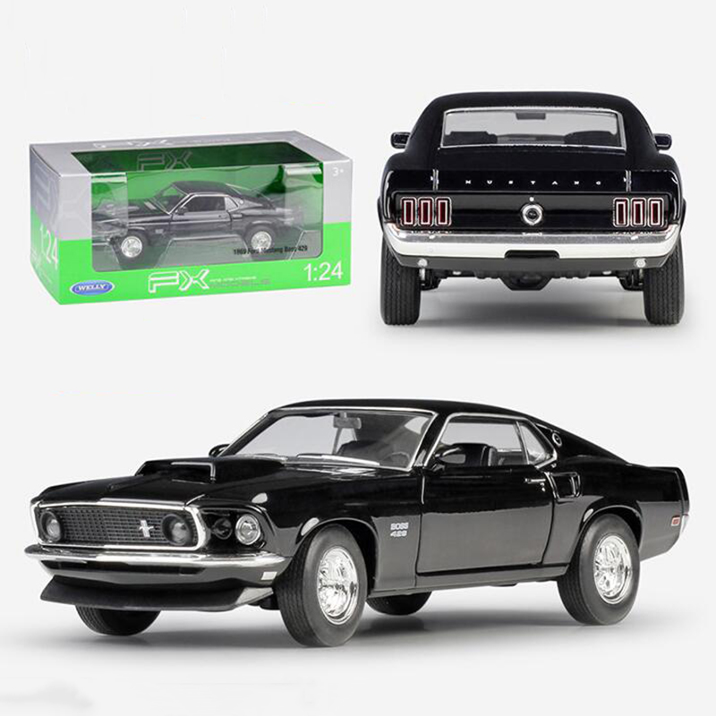 About 19CM 1/24 Scale Metal Alloy Classic Car Diecast Model 1969 <font><b>Ford</b></font> <font><b>Mustang</b></font> Boss 429 Toy Welly Collecection Toy for Kids Child image