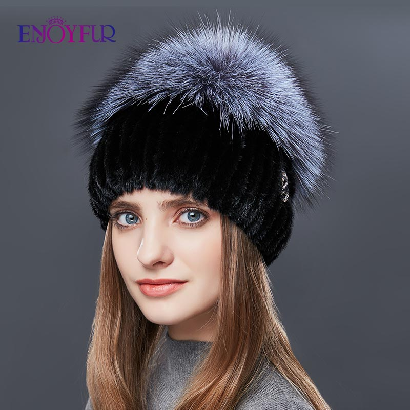ENJOYFUR Real Sliver Fox Fur Hat Female Natural Mink Fur Winter Hats For Women Rose Rhinestones Patchwork Mix Color   Beanies