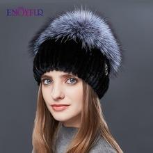 ENJOYFUR Real Sliver Fox Fur Hat Female Natural Mink Fur Winter Hats For Women Rose Rhinestones Patchwork Mix Color Beanies