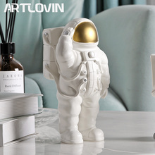 White Astronaut Figure Phone Holders Cosmonaut Statue Space Man Sculpture Home Decoration Figurines Living Room Spacer Miniature