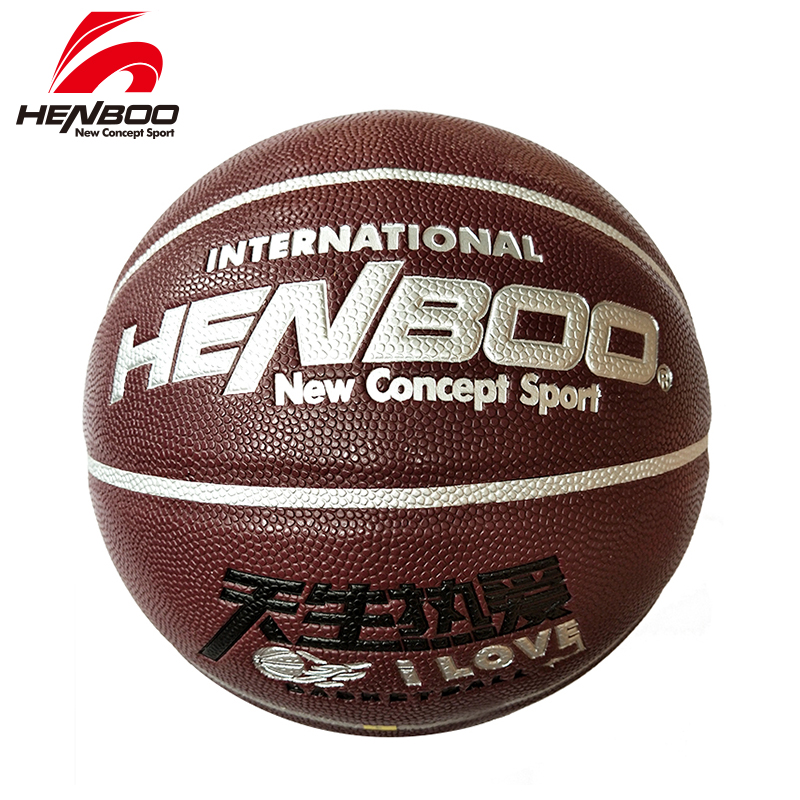 HENBOO Basketball Ball Hygroscopic Leather + Butyl Liner Outdoor Indoor Sport Match Training Inflatable Size 7 686 High Quality