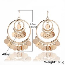 New European and American fashion alloy sequins in 2019 exaggerated Earrings Bohemian national style eardrop jewelry