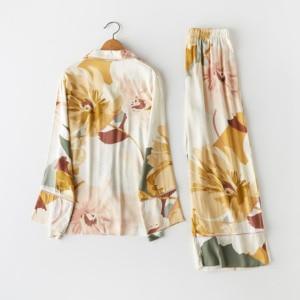 Image 3 - Femme Pajama Suit Print Flower Long Sleeve 2pcs Shirt+pants Nightwear Casual Women Pajamas Set Cotton Sleep Wear