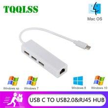 TQQLSS HUB USB 2,0 RJ45 Lan de la red tarjeta adaptador USB a Ethernet 3 puertos adecuado para Mac iOS Android PC RTL8152 USB 2,0 HUB