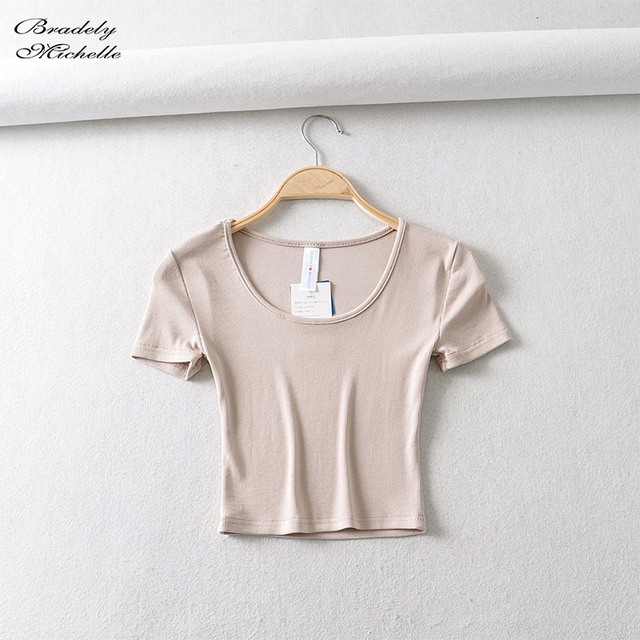 Bradely Michelle Casual Cotton New 2020 Summer Woman Slim Fit t-shirt tight Short-Sleeve O-neck tee Crop Tops 4