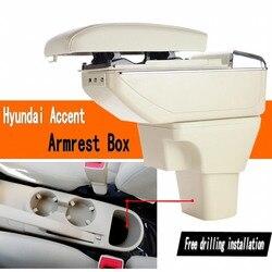 Dla Hyundai Accent podłokietnik ze schowkiem centralny sklep pojemnik do przechowywania z uchwytem na kubek popielniczka USB Accent podłokietniki box w Podłokietniki od Samochody i motocykle na