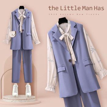 Three-piece Classic Blazer Single Button Sleeveless Vest Jacket Long Pants Long Sleeve Shirt Women Elegant Office Suit 1