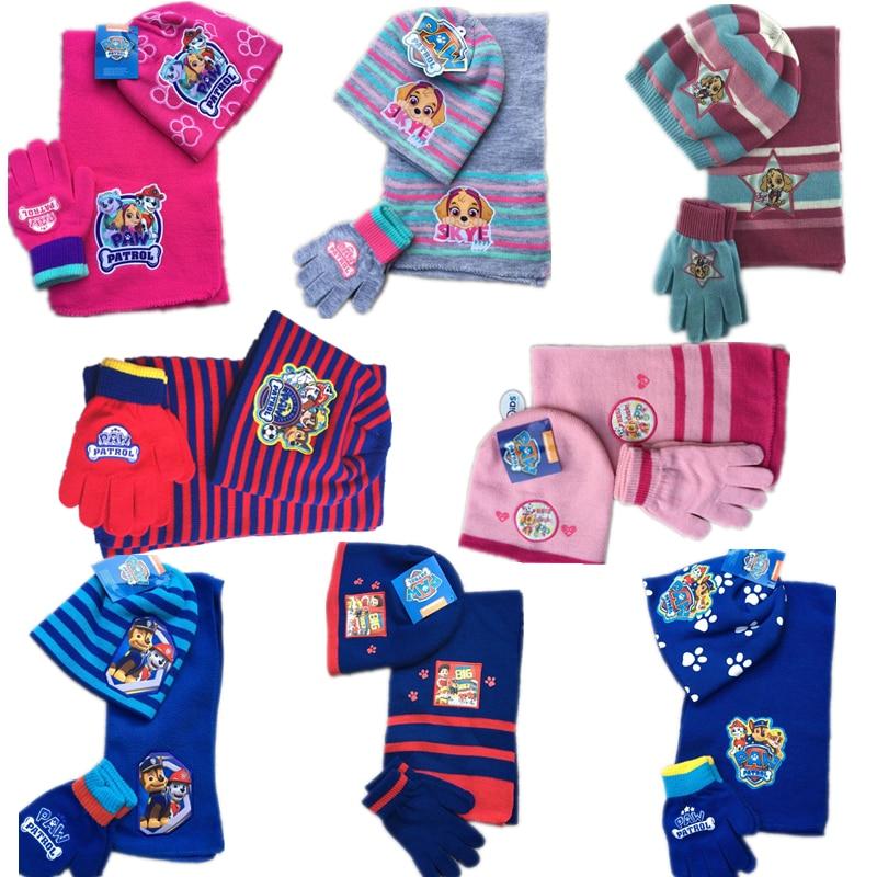 3pcs/set Paw Patrol Scarf Gloves Hat Set Keep Warm Knitting Weaving Winter Must Lovely Cartoon Anime Action Figure Birthday Gift
