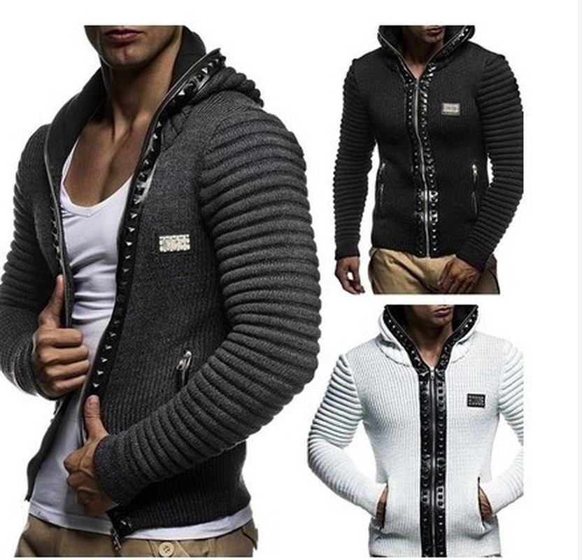ZOGAA Men's Sweater Coat Casual Hat Rivet Trim Jacket Mens Knitted Hooded Jacket Coat Solid Men's Zipper Sweater Jacket Fashion