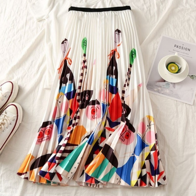Summer Women Long Pleated Skirt Plus Size Cartoon Print White Black Pleated Skirt Elastic Casual High Waist Skirt.w 4