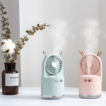 2000mAh Humidifier Fan Colorful Night Light USB Mini Fans Rechargeable Portable Desktop Air Humidifiers Air Cooler Fan For Home 2018 mini fan beauty portable rechargeable mini spray humidifier for smart home air conditioning fan