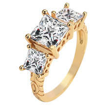 European and American trend inlaid high-quality square zircon charm ring princess wedding top jewelry party CZ Women/girl ring(China)