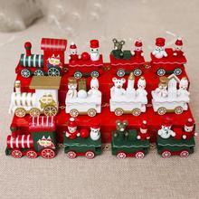 Мини Деревянный Рождественский поезд, модель, Декор, игрушка для автомобиля, год, подарки для детей, товары для рождественской вечеринки, праздничные украшения «сделай сам»