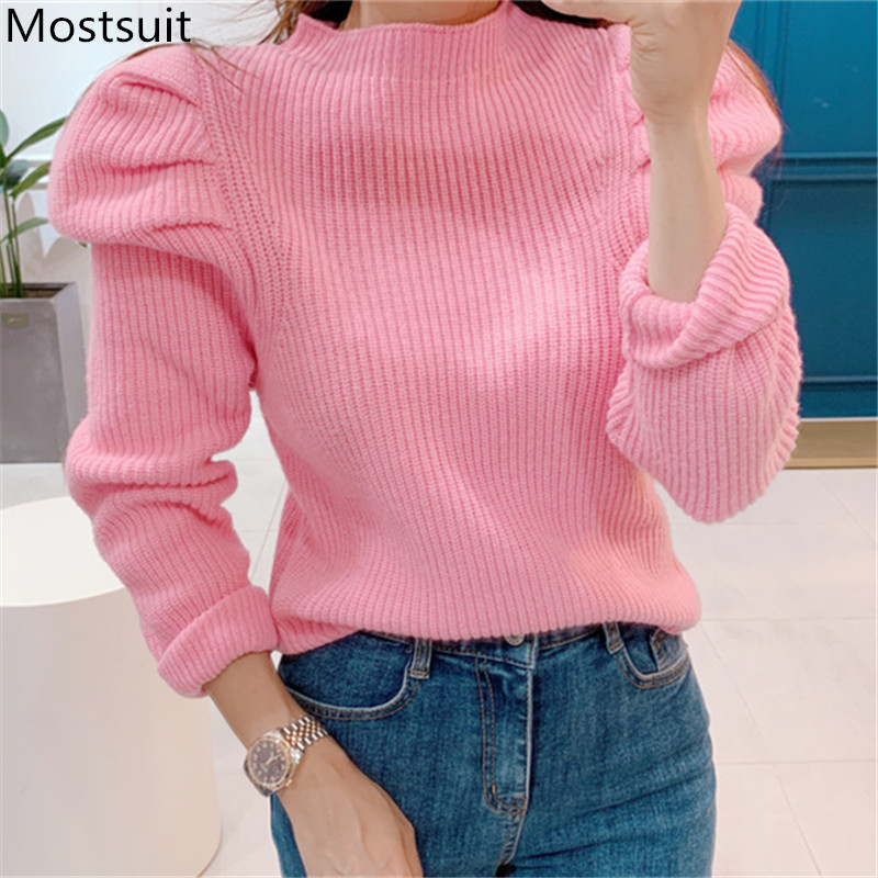 Korean Puff Sleeve Solid Knitted Sweaters Tops Women Long Sleeve Half-high Collar Korean Fashion Female Tops Sweater 2020 Spring