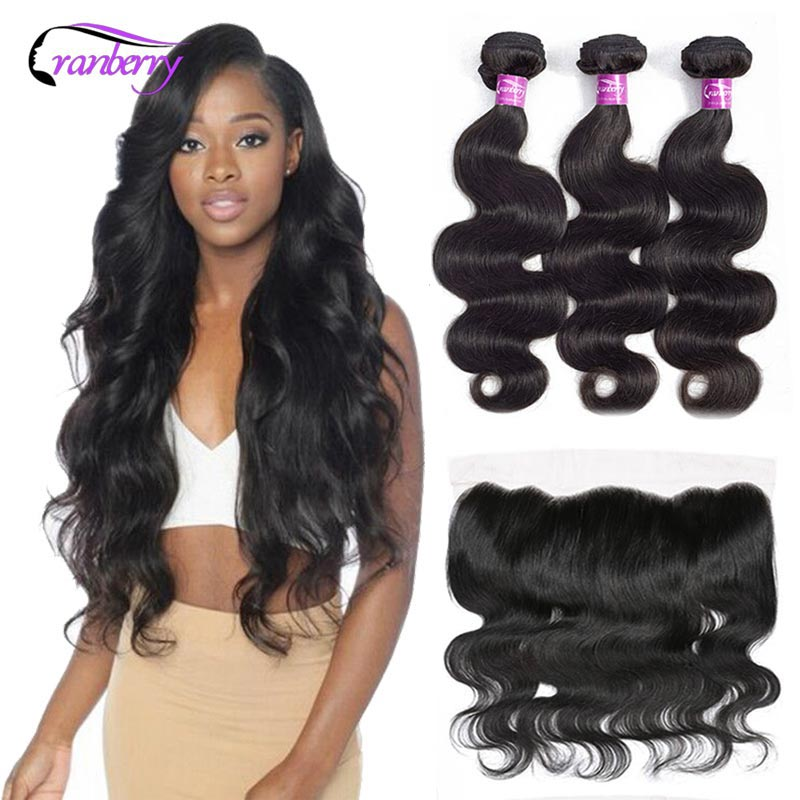 Cranberry Hair Peruvian Body Wave Bundles With Closure 100% Remy Human Hair Bundles With Frontal 13X4 Lace Frontal With Bundles