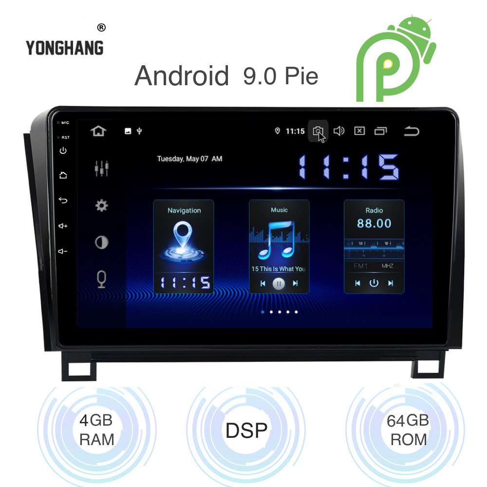 Android 9.0 Car Radio 1 Din GPS Navi For Toyota Tundra 2007-2013 Sequoia 2008-2018 PX6 DSP IPS HDMI 4Gb+64Gb RDS WIFI RDS USB BT image