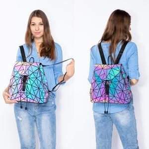 Lovevook women backpack schoolbag foldable crossbody bag for ladies bag set 3 Pcs purse geometric bag luminous color