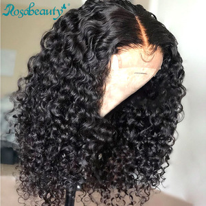 Rosabeauty Curly Short Bob 4x4 Closure Lace Front Human Hair Wigs pre plucked Remy Frontal Wig For Black Women Deep Wave