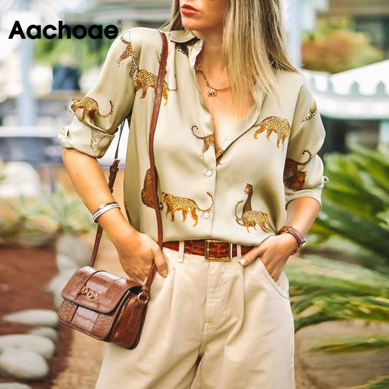 Aachoae Women Blouses Long Sleeve Turn-down Collar Casual Tops Leopard Print OL Style Office Shirt Ladies Loose Blouses Blusas