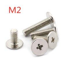 M2 * 1.5/2/2.5/3/3.5/4/5/6/8/10/12 cabeça fina plana phillips máquina parafuso wafer cabeça parafusos aço niquelado