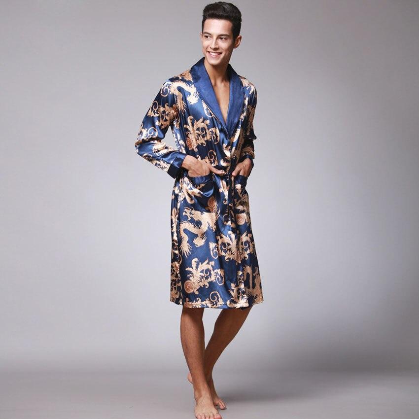 Male Chinese Style Dragon Robe Bathing Home Sleep Wear Silk Satin Soft Embroidery Loose V-neck Men Pajamas Nightgown Kimono