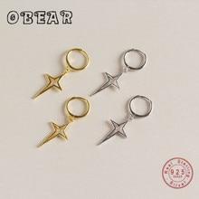 OBEAR Minimalist Round Earrings 100% 925 Sterling Silver Crossed Star Stud Earrings for Women Silver Jewelry melinda taub still star crossed