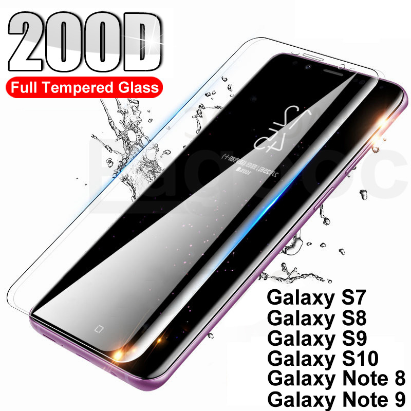 200D Full Curved Tempered Glass For Samsung Galaxy S10 S9 S8 Plus S10E Screen Protector For Samsung Note 8 9 Glass Safety Film