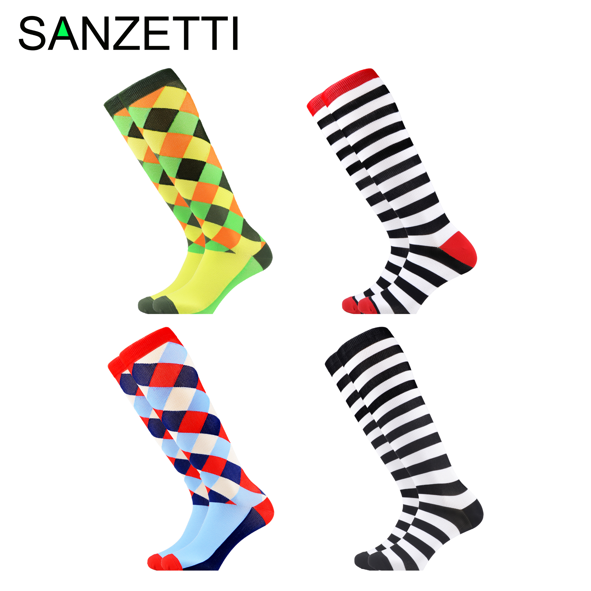 SANZETTI 4 Pairs/Lot Women Hayyp SocksStriped Combed Cotton Compression Socks Below Knee Plaid Anti-Fatigue Long Colorful Socks