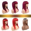 Menschliches Haar Perücken Mit Pony Kurze Gerade Perücken Für Frauen #613 Honig Gelb Ombre 1B/27 P4/27 blonde 1B/118 Rot 99J Burgund Grau