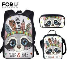 3pcs/set Women Backpack Tribal Raccoon Printing Canvas School Bags