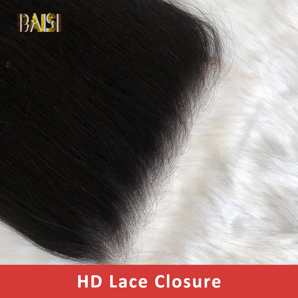 BAISI HD Lace Hair Closure Pre-Plucked Straight Baby 5x5 Brazilian 4x4 Transparent  title=