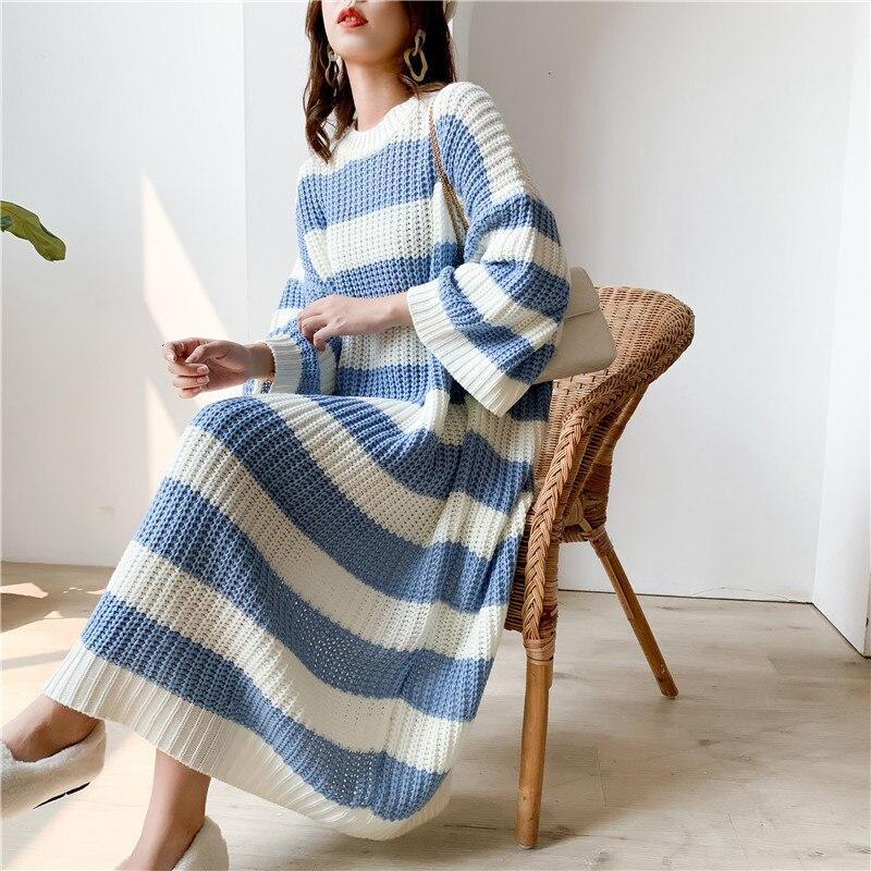 LANMREM Stripe Crew Neck Pullover Sweater Women 2020 Spring New Loose Large Size Vintage Long Knit Dress Female PC442