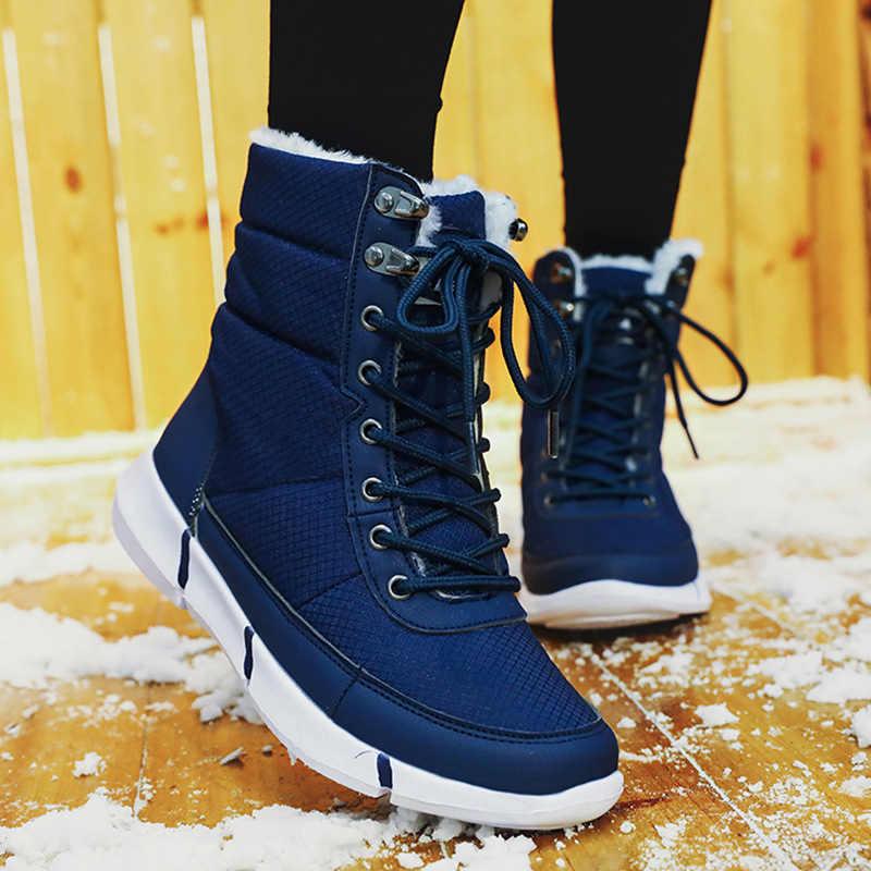 2019 נעלי אישה חורף שלג מגפי Motocycle קטיפה נשים נעלי סופר חם נשים אמצע עגל מגפי נעלי חורף אישה נעל