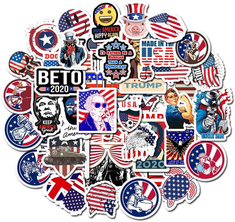 50pcs/pack USA American President Vinyl Stickers Deco Scrapbooking For Luggage Snowboard Car Fridge Car- Styling Laptop Stickers