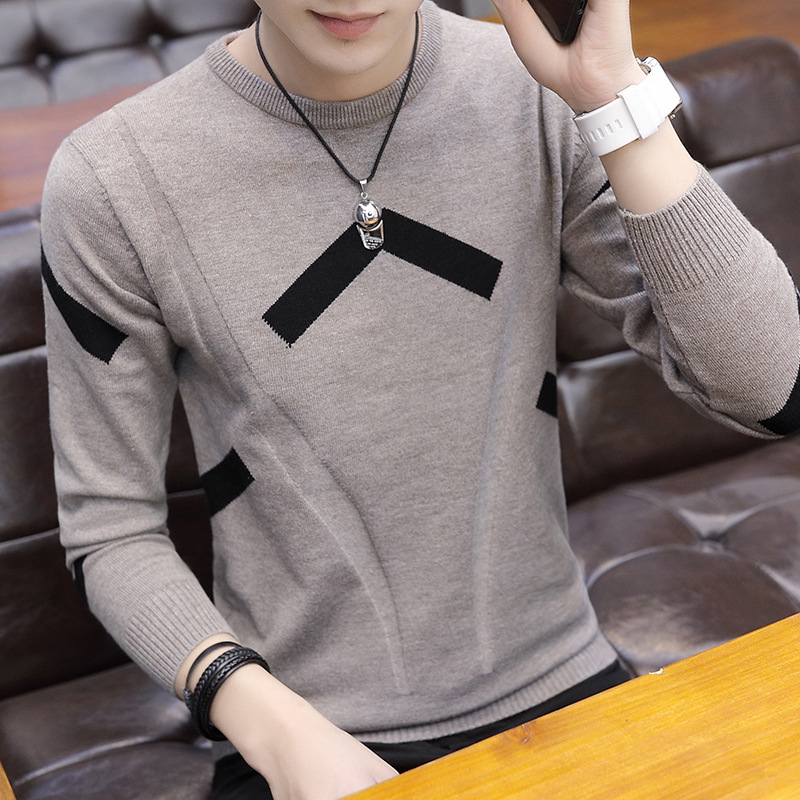 New Men Sweaters Leisure Round Collar Long-sleeved Youth Black Figure-flattering Sweater Men O-Neck Casual Pullovers