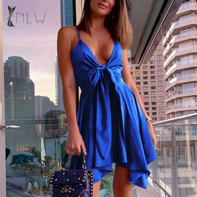 NLW Sexy V Neck Satin Party Dress Women 2019 Night Club Backless Blue Mini Dress Halter Sleeveless Plus Size Short Dress Vestido