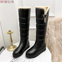 Russia winter boots women warm Knee High boots round toe down fur ladies fashion thigh snow boots shoes waterproof boots